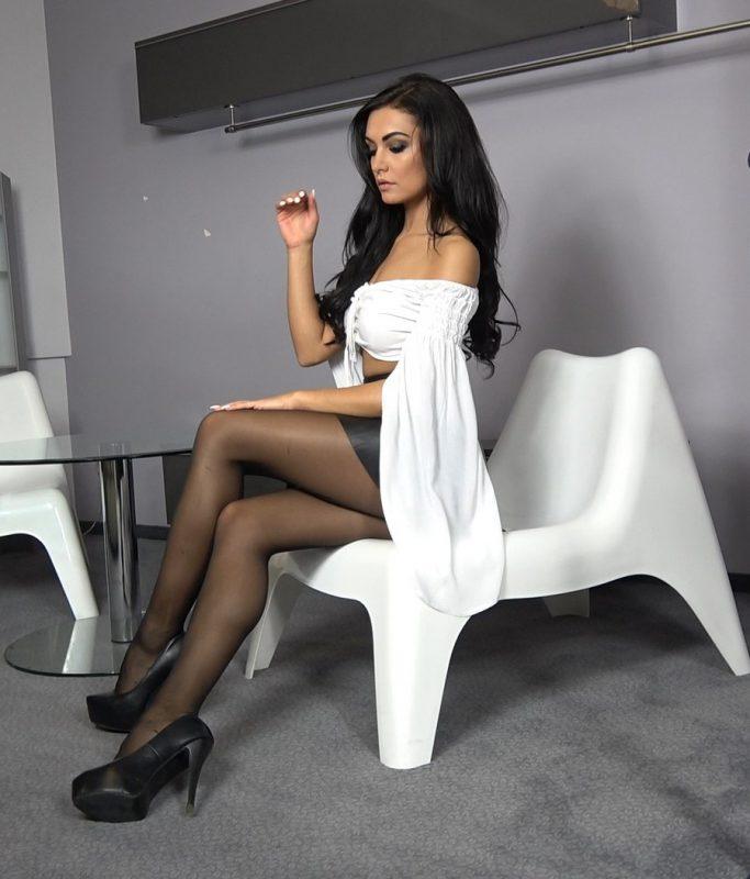 Black-Pantyhose-Long-Legs-Super-Legs-Fashion-white top- woman - model