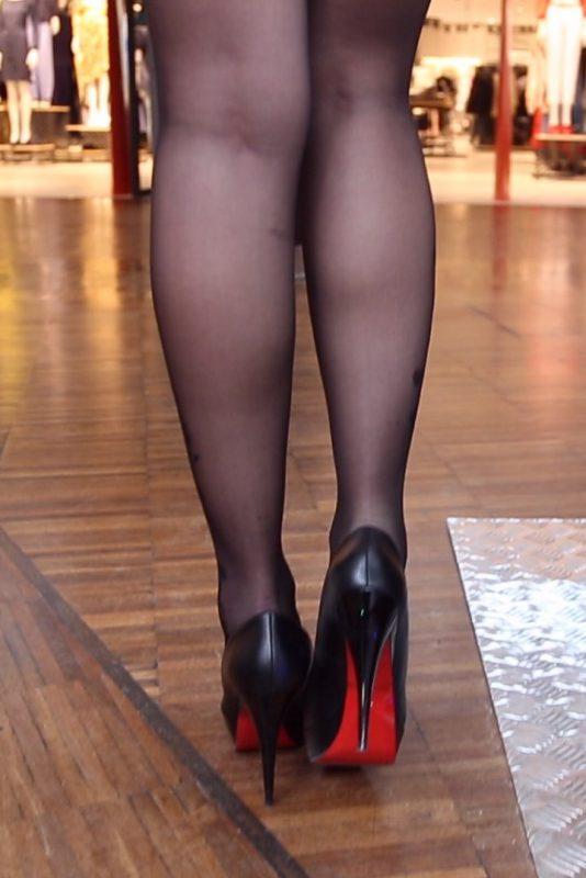 black pantyhose super legs model in high heels 20