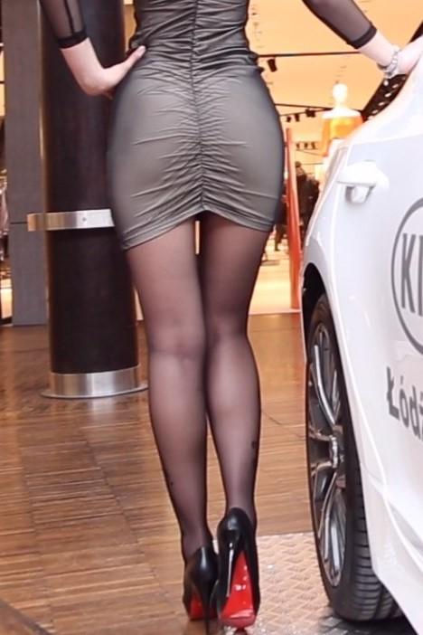 black pantyhose super legs model in high heels 22