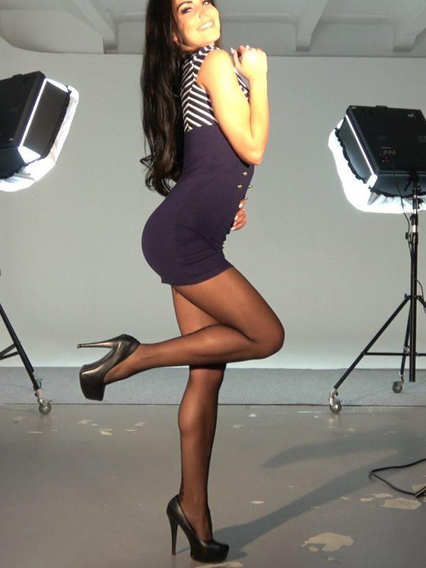 black pantyhose super legs model in high heels blue mini dress studio -video