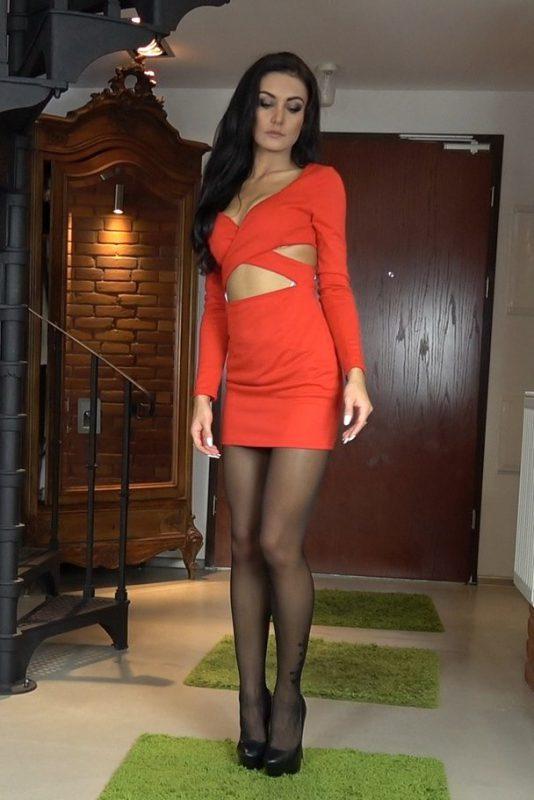 black pantyhose super legs model in high heels red mini dress 43