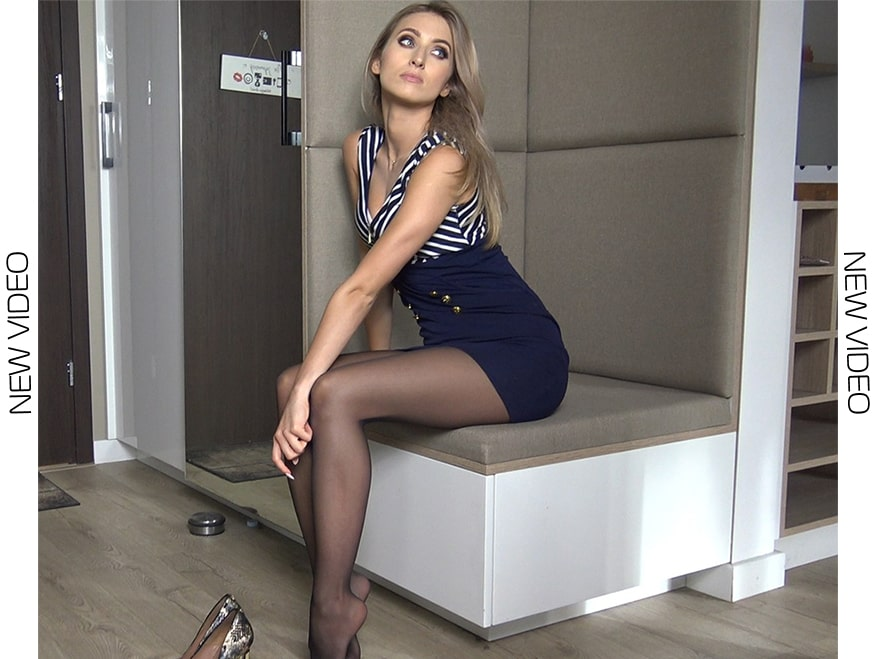 trying on high heels - black pantyhose model 2